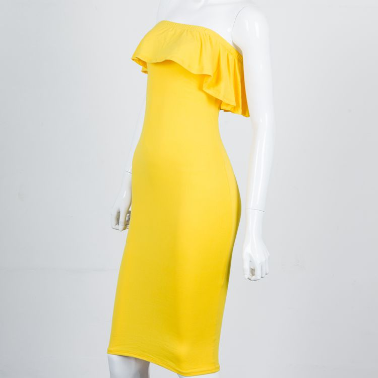 f481709447ef simple beautiful lady one piece off the shoulder yellow cotton bra dress