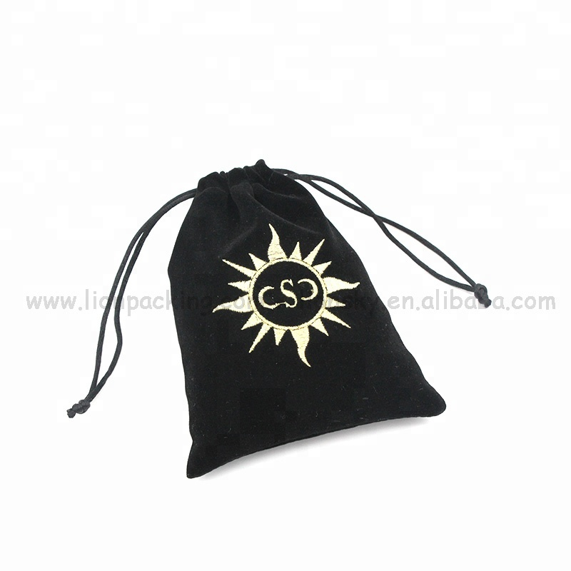 Custom logo printed drawstring 백 자수 벨벳 jewellery pouch
