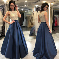 2019 summer blue ball gowns for women sleeveless Evening Dress sexy ladies night one piece dress western sequin dresses