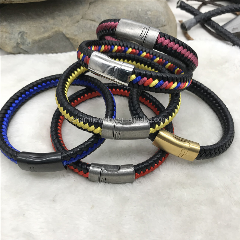 Wholesale  Stainless steel men's Bracelet   personality  Braided  leather bracelet  with magnetic clasp  QXSZ012