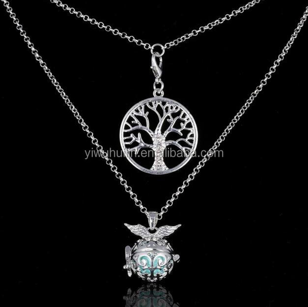SP200 Yiwu Huilin Jewelry Angel Wings Fragrance Essential Oils Diffuse Double Chain Diffuse Crystal Tree Necklace Jewelry