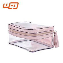 2017 Wholesale transparent plastic travel makeup organizer cosmetic clear travel toiletry bags