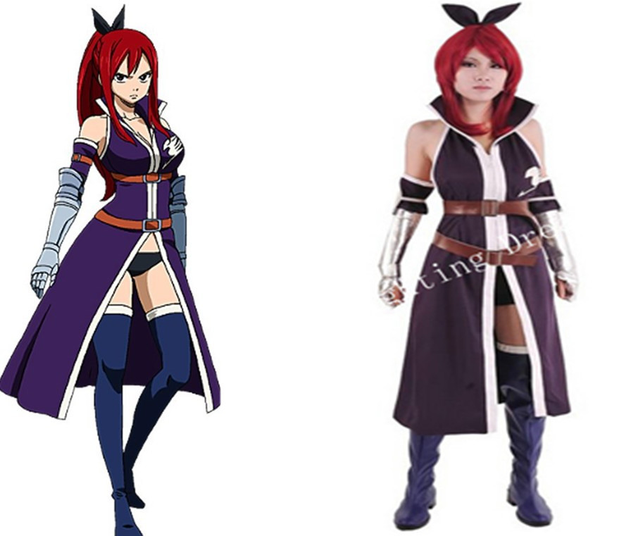 Fairy Tail Erza·Scarlet Daily Clothing Cosplay Halloween Costume Custom Made