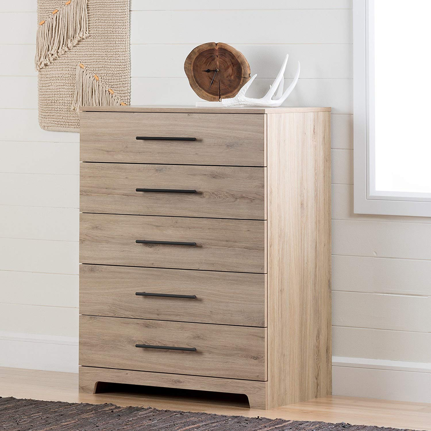 Elegant Bedroom 5-Drawer Chest With Contemporary Design, Modern Metal Handles In A Matte Black Finish, Metal Drawer Slides, Non-Toxic Laminated Particle Board Construction, Rustic Oak Finish