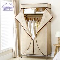 Portable Clothes Closet Non-Woven Fabric Wardrobe with Top Wide Shelf