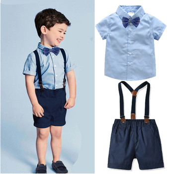 Shirt Baby Kids Clothes Set Toddler Baby Boys Summer Gentleman Bowtie Short Sleeve Shirt+Overall Shorts Sets Boys Clothes