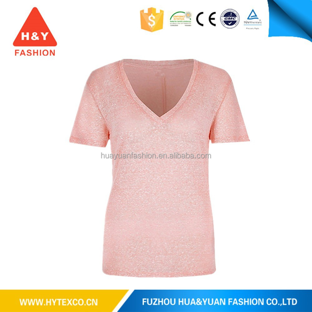 2015 wholesale women's cotton v-neck t shirt summer t-shirt --7 years alibaba experence