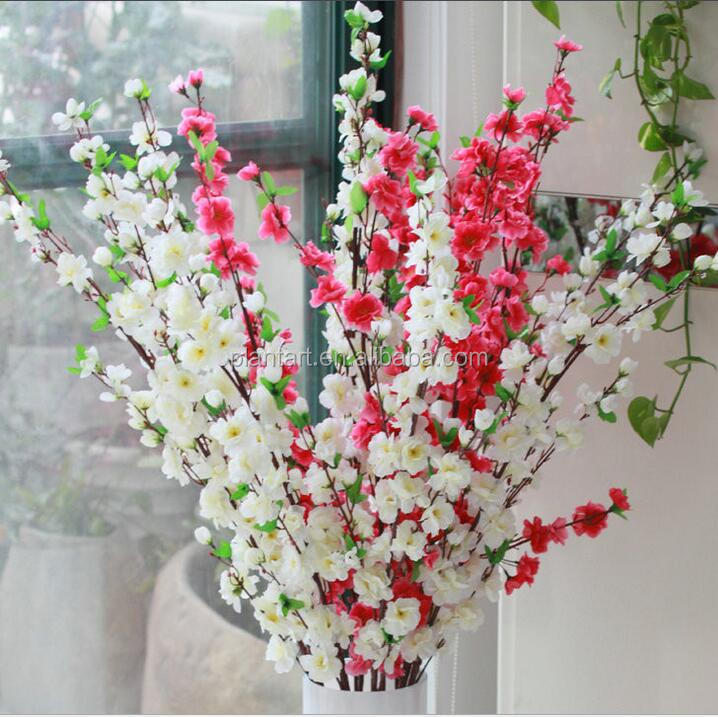 Artificial peach flower branch wholesale for wedding decoration