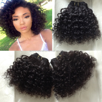 short bebe curly hair weft virgin brazilian sew in human hair