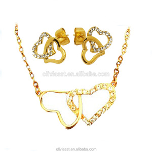 Fashion Guangzhou Costume Jewelry 18k Gold Plated Stainless Steel Big Jewellery Sets For Women