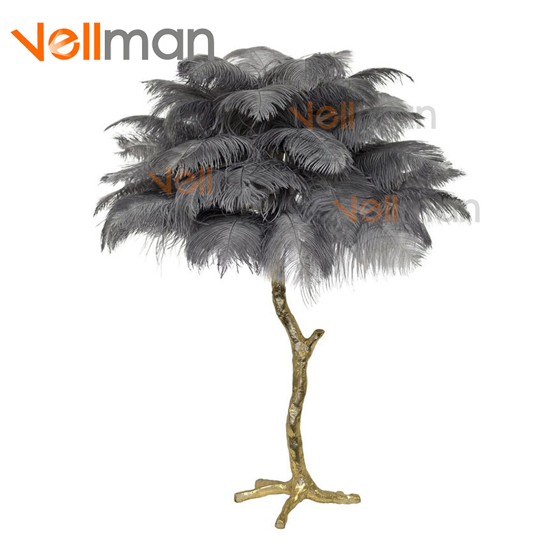 Golden Decoration Light Natural Ostrich Feathered Copper Bronze Palm Tree Table Lamp