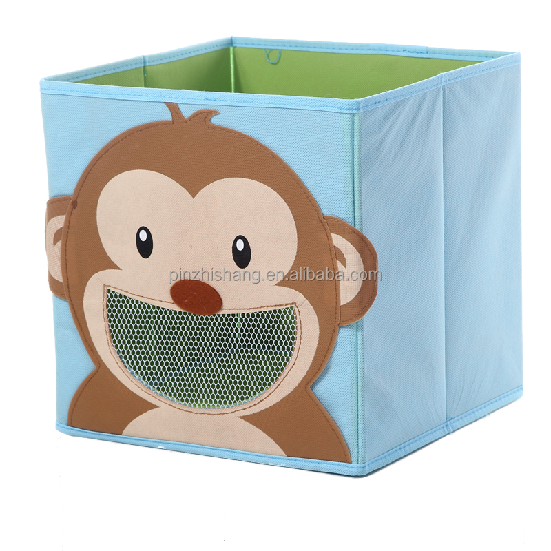 High quality custom full color printing Kids cartoon animals design non woven foldable storage box