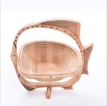 Customized Brand Accepted Bamboo 3D Calathus Fruit Basket Creative Retractable Basket