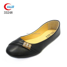 2017 wholesale cheap fashion ladies flat metallic PU ballerina shoes