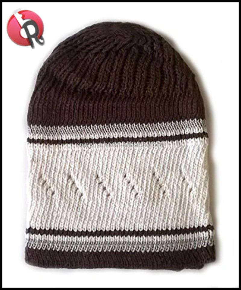 Men s Muslim Prayer Hat Skull Cap Islam Kufi Knitted Black And White ... 72631fdcf64c