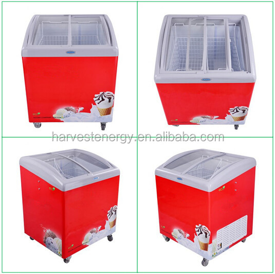 182l small store supermarket freezer 2 baskets curved single glass door chest deep freezer