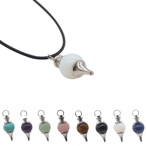 Wholesale Fashion Jewelry Gemstone 18mm Sphere Pendulum Pendant with Silver Finding
