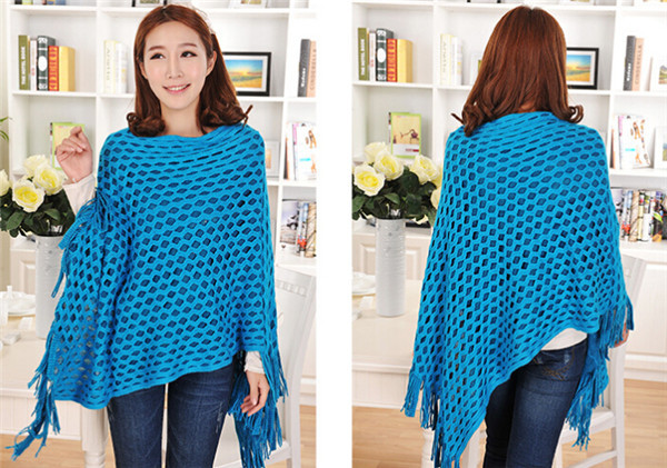 2015 Spring High Quality Tasseled Women's Knitted Sweater 100% Acrylic Hollow Out Pullover Knitted Women's Cape