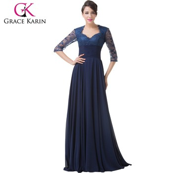 Grace Karin 2015 Newest Navy Blue Long Lace Formal Evening Dress