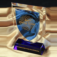 Blue crystal glass shield trophy with black base