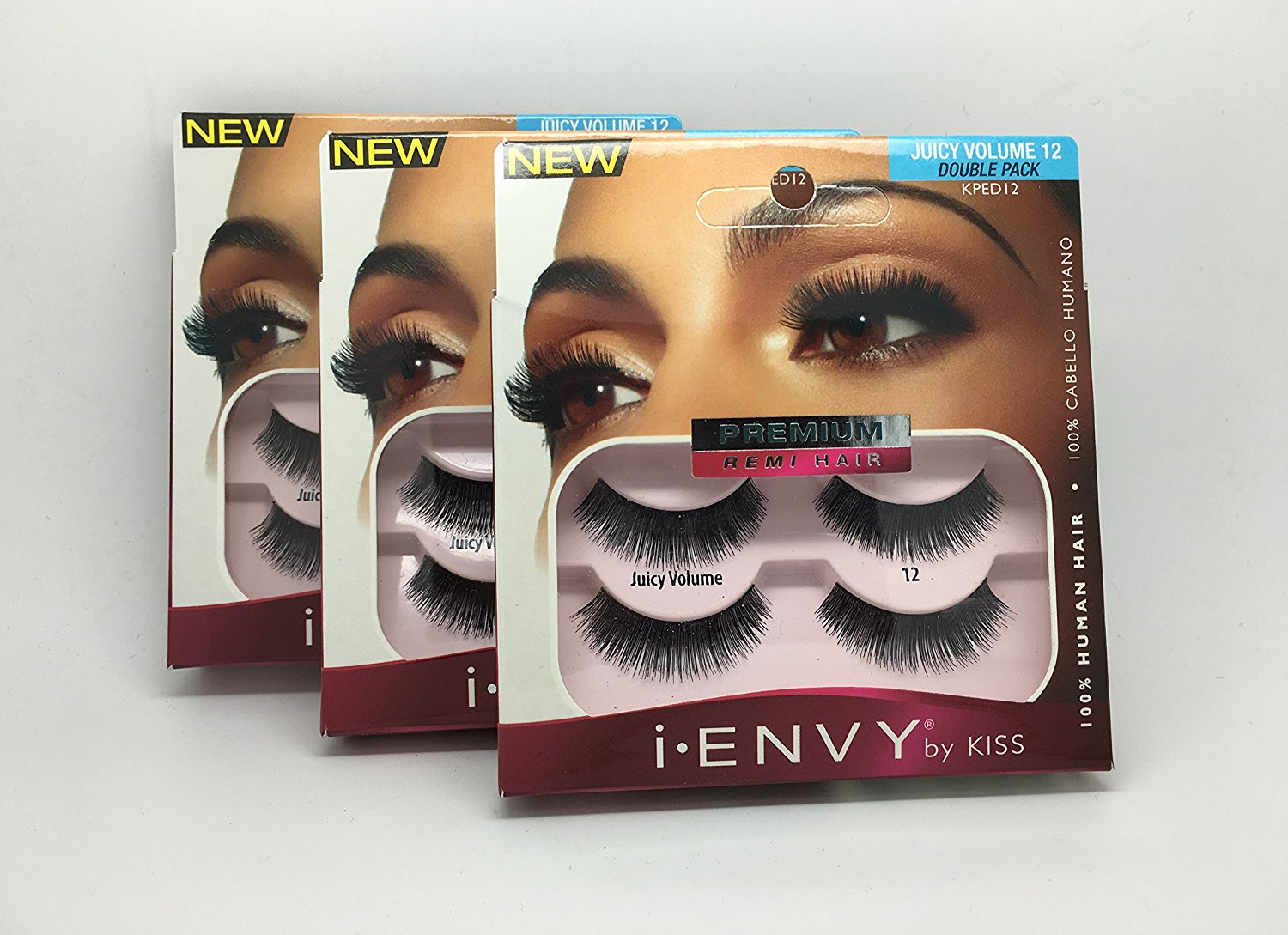 7a789b40561 Get Quotations · Kiss i-Envy Premium Human Hair False Strip Eyelashes 2 PAIR  Juicy Volume 12 (