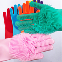 Magic Silicone Dishwashing Gloves scrubbing Gloves for Dishes