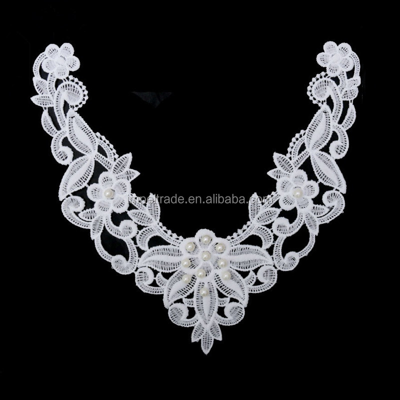 Milk Silk White V Collar Imitation Pearl Lace Fabric ,Wedding Dress Collar Lace For Sewing Supplies Crafts