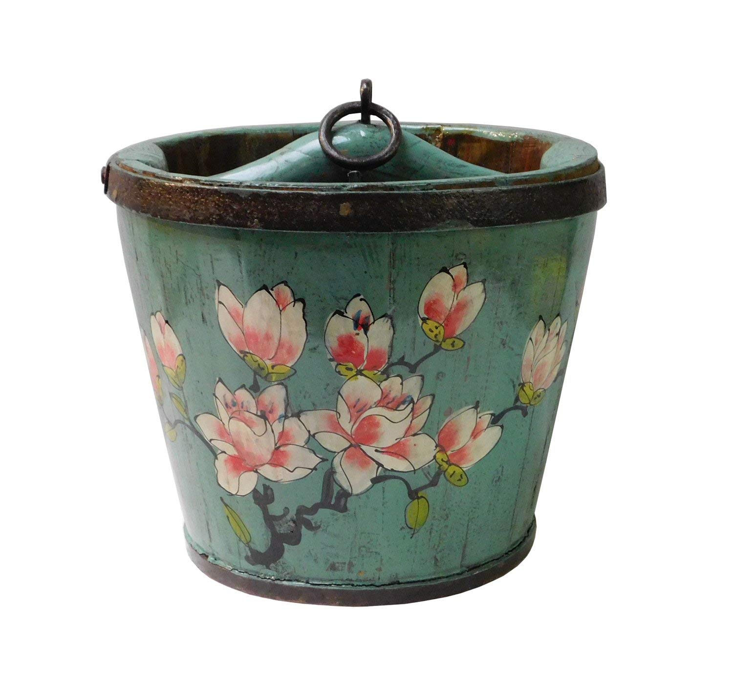 Round Shape Navy Blue Color Chinese Flowers Painted Wood Bucket an150