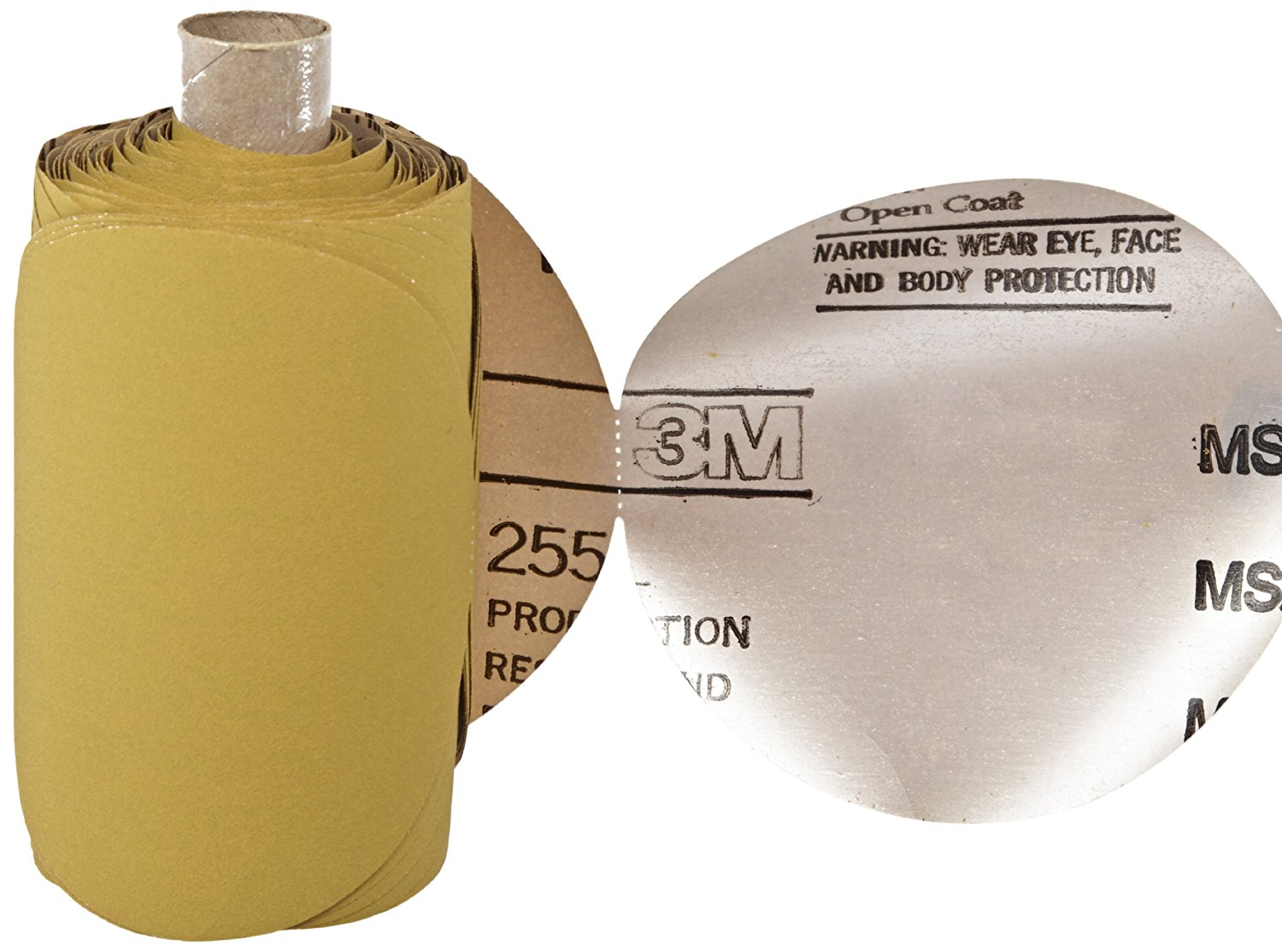 "3M Stikit Gold Film Disc Roll 255L, Aluminum Oxide, 5"" Diameter, P180 Grit (Roll of 125)"