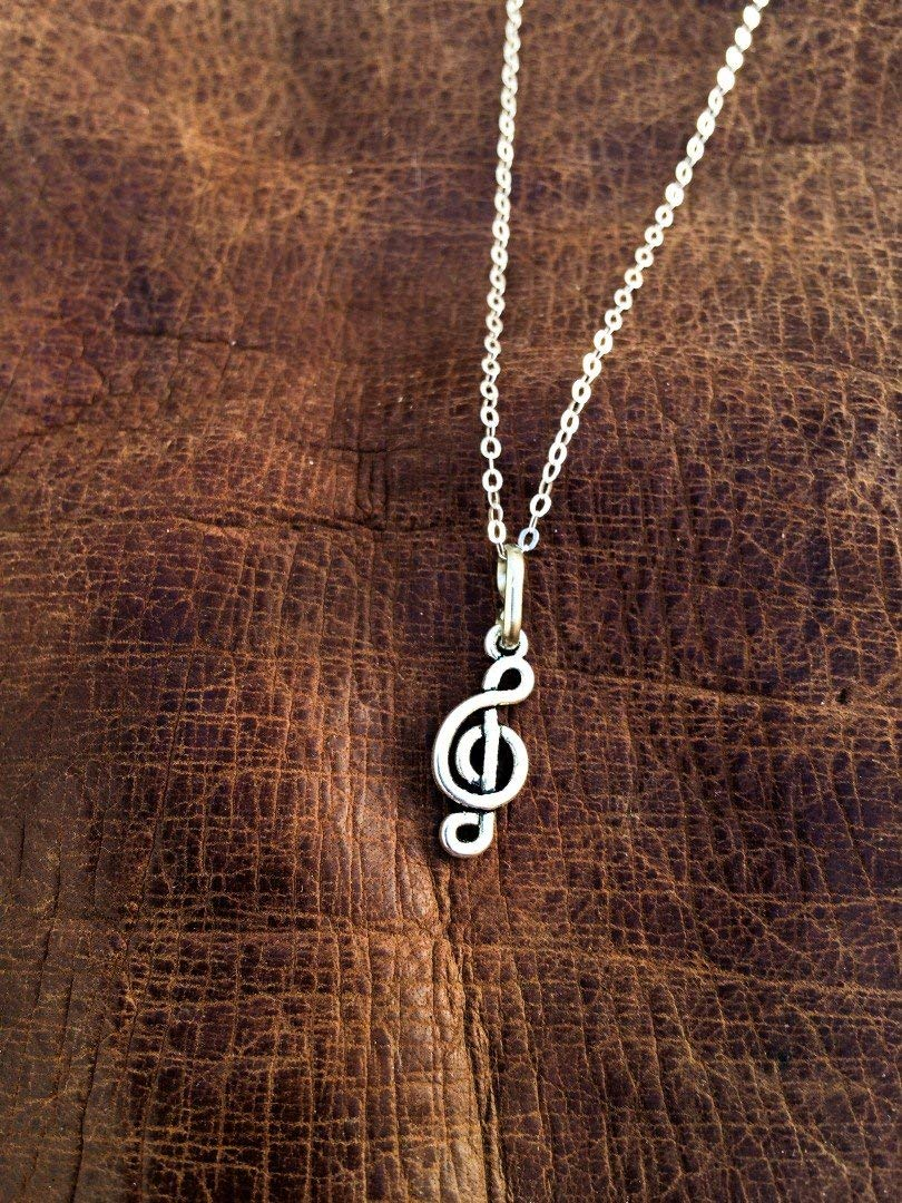 Sol key charm necklace, Silver sol key pendant, musical key pendant, musical jewelry, Silver necklace, unisex Tiny charm pendant, Boho, Gift