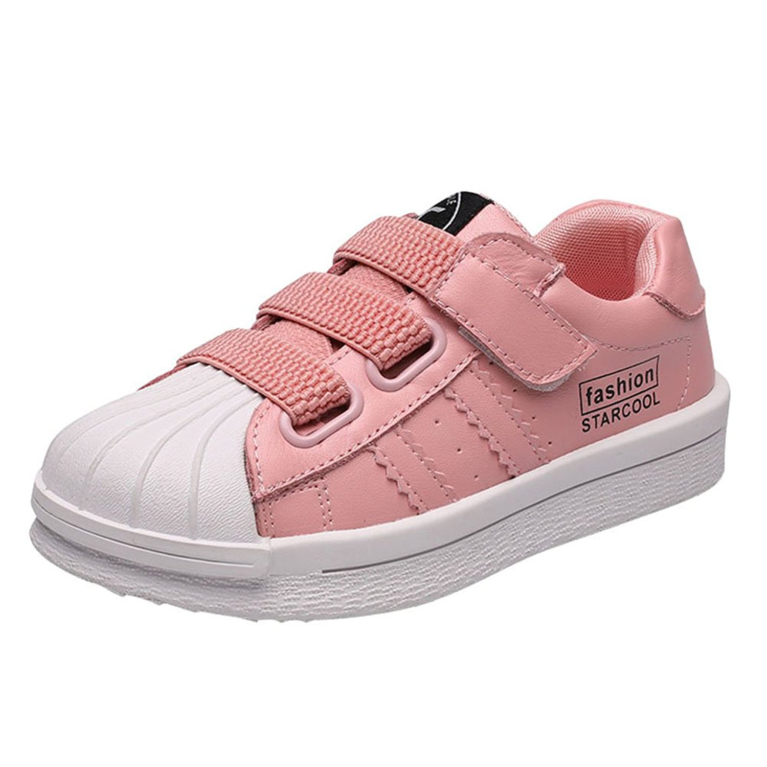 SFNLD InStar Kids Fashion Round Toe Hook and Loop Strappy Sports Sneakers Shoes