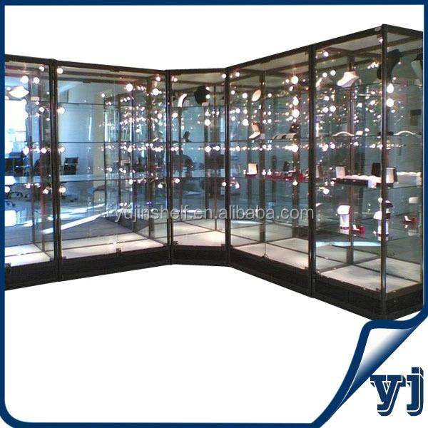 L Shape Glass Vitrine Display Cabinet With Corner Glass Vitrine ...