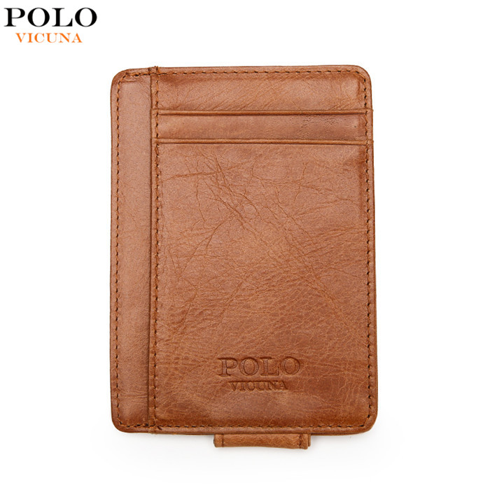 VICUNA POLO Genuine Leather Wallet Ultrathin Money Clip Rfid Wallet Blocking Front Pocket Brown Men's Slim Wallet