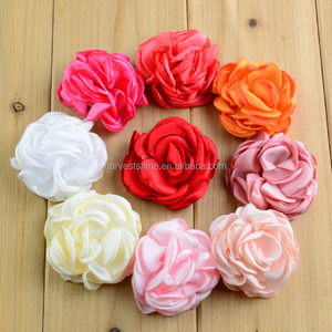 Handmade Burnt Satin Flowers For Decoration,Fabric Flower Hair Flower For Headwear Accessories