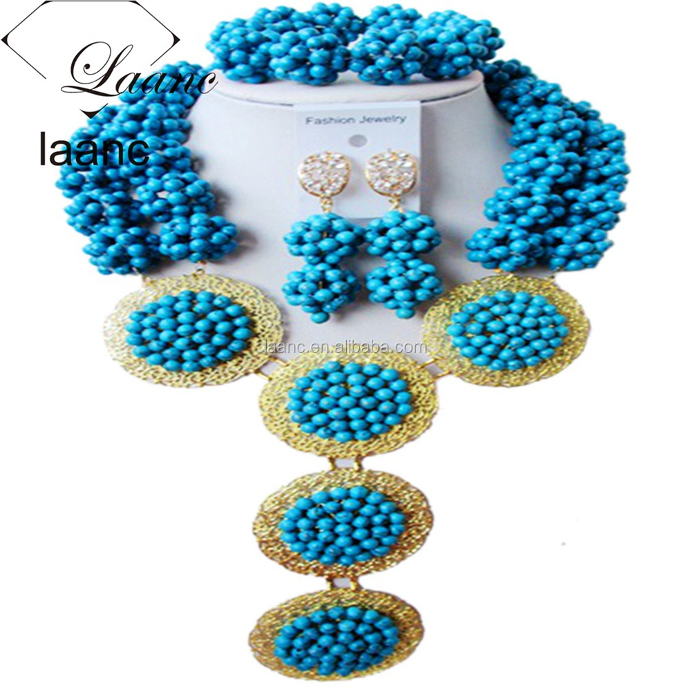 African Beads Vintage Alloy Delicate Aqua Blue Turquoise Jewelry Sets NIgerian Necklace Bracelet Earring for Brides