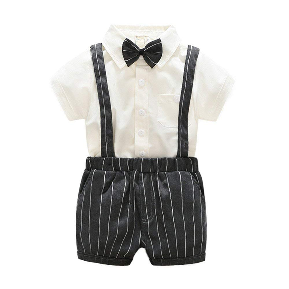 HighDream Baby Boys Gentleman Bowtie Short Sleeve Shirt+Straps Shorts 2PCS Casual Outfits Set