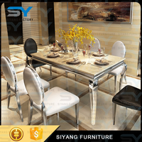 Italian furniture marble dining set dinning table chair stainless steel dining table designs CT015