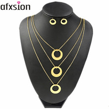 Afxsion wholesale 2018 fashion stainless steel jewelry 세-층 <span class=keywords><strong>금</strong></span> necklace 또 귀걸이랑 jewelry set