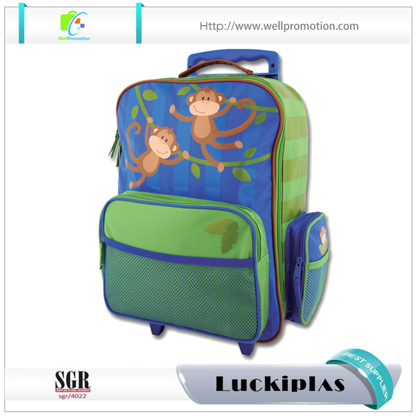 Trolly Fashion Children kids scooter school bag with wheels backpack