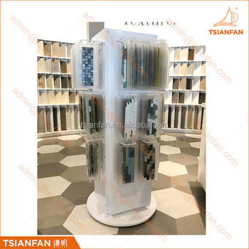 Spinning Metal Stone Mosaic Tile Display Tower with Hanging Acrylic Tile Sample Board