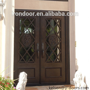 Lion design decoration wrought iron double entry door with grill bars