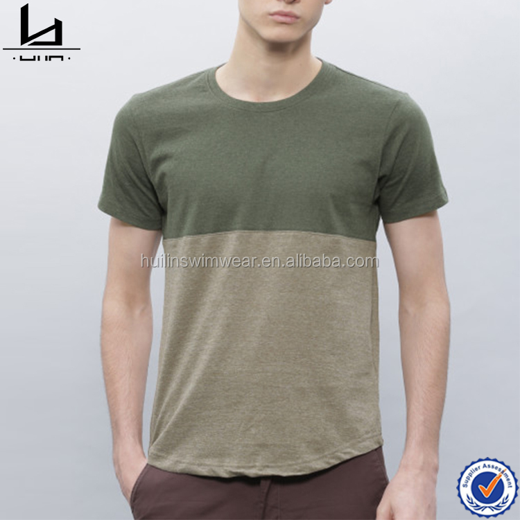 Blank design and cotton material tee olived colored block men clothes mens promotion t shirt men 2016