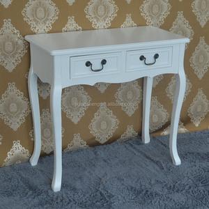 Shabby chic vintage antique white wood carved home furniture 2 drawer console table