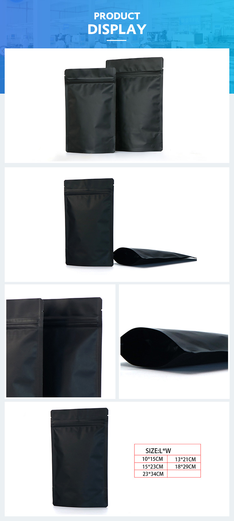 High quality plastic bean food bags foil stand up coffee zip lock bag matte black pouch
