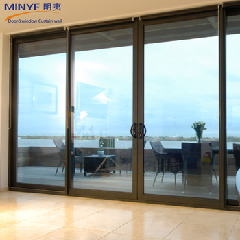 America Style Soundproof Sliding Door Aluminum Large Glass Partition