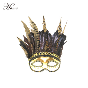 HOME brand Cock feather mardi gras masquerade mask with sequins decor