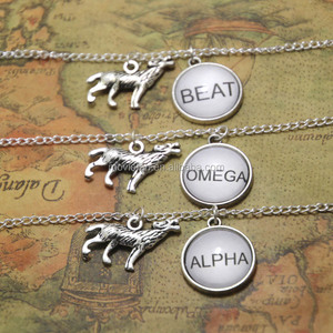 Alpha Beta ORIGINAL DESIGN Wolf Necklaces Best Friend Necklaces Wolf Pack Fandom Jewelry