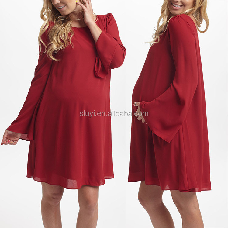 Autumn Winter Loose Casual Dress For Pregnant Women Fashion Red