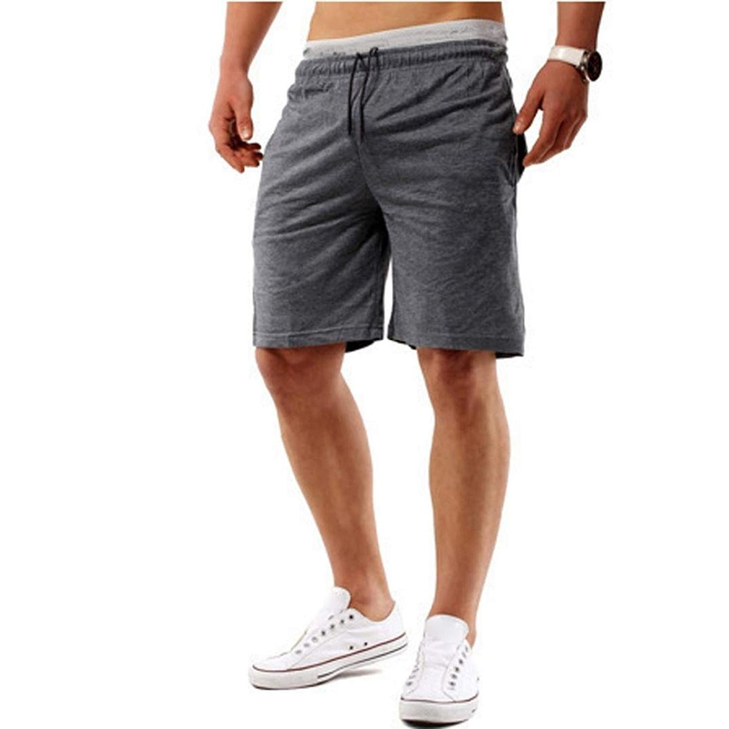 Morecome Men Pant Mens Cotton Drawstring Shorts,Morecome Men Sports Fitness Elastic Waist Casual Pants