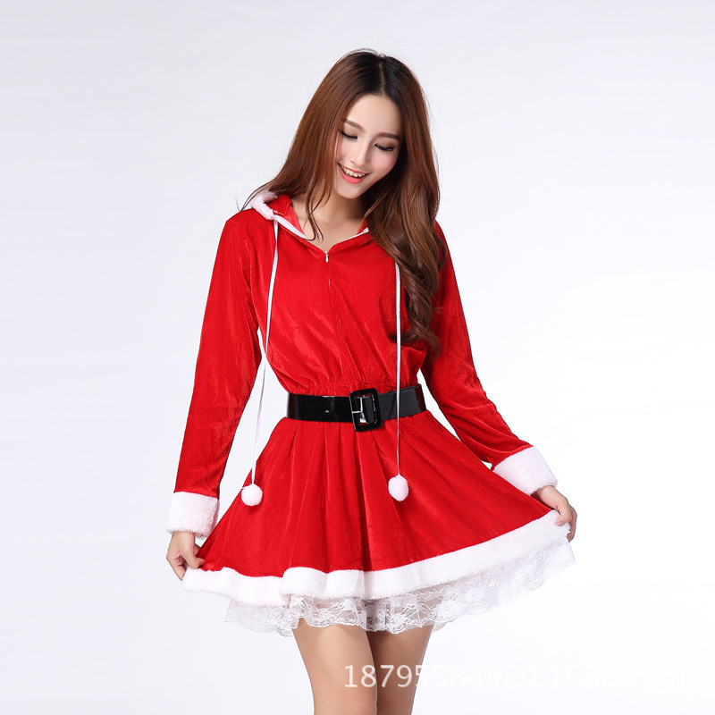 5aa503d8411 Get Quotations · New Arrival Cute Christmas Halloween Cosplay Costumes  Temptation Sexy Lingerie Cat Girl Masquerade Santa Claus Dress